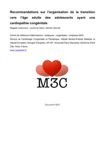 Recommandations sur l'Organisation de la Transition vers l'Âge Adulte des Adolescents ayant une Cardiopathie Congénitale - M3C